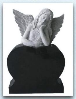 Grabstein mit träumendem Engel, Granit, Black, 85x60x15cm, NEU!!!
