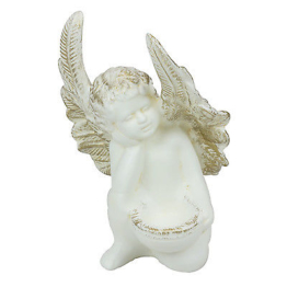 Keramik Engel Teelichthalter H 22,5 cm creme mit gold Grabschmuck Schutzengel