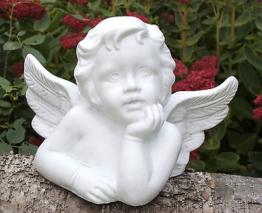 Steinfigur Engel Figur Putte Skulptur Grabschmuck Gedenkstein Steinguss frostfes