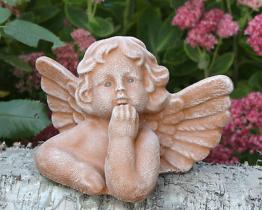 Steinfigur Engel Putte Grabschmuck Gartenfigur Dekofigur Engelsmotiv frostfest