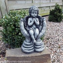 Steinfigur Steinguss Grabschmuck Engel in Hände Grabengel Schutzengel Frostfest