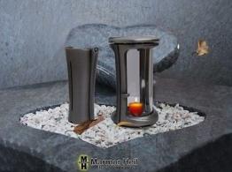 Grablampe Grablaterne 19cm u. Grabvase 19cm Set aus Aluminium Friedhof Urnengrab