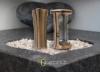 Grablampe Grablaterne 19cm und Grabvase 19cm Set aus Messing Friedhof Urnengrab