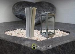Grablampe Grablaterne 25cm und Grabvase 27cm Set aus ALU Friedhof Urnengrab