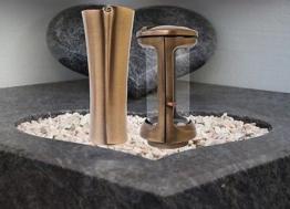 Grablampe Grablaterne 25cm und Grabvase 27cm Set aus Messing Friedhof Urnengrab