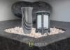Grablampe Grablaterne Grablicht 24cm und Grabvase 25cm Set aus Alu Friedhof