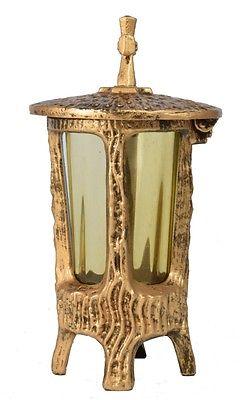 Grablaterne rund mit Glas in messing - gold