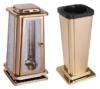 Grabset 2tlg., Edelstahl gold Grablaterne Grabvase Grablampe Grab Vase