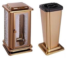 Grabset Edelstahl bronzefarben Grablaterne Grabvase Grablampe Edelstahl Vase