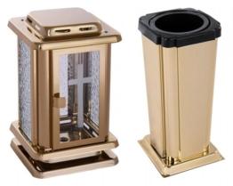 Grabset Edelstahl -gold 2 tlg., kleine Grablaterne / Grabvase Grablampe Vase