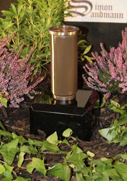 Grabvase aus Bronze | Grabschmuck | Grablape | Grablicht | Vase -->NEU