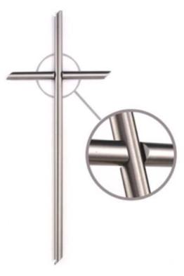 Kreuz Edelstahl Grabkreuz Grabstein Grabmal Kreuz aus Edelstahl 55 x 23 cm