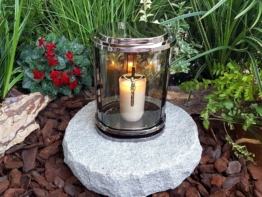 MIT GRANIT GRABLATERNE EDELSTAHL LATERNE GRABLICHT GRABLAMPE  GRABSTEIN LAMPE