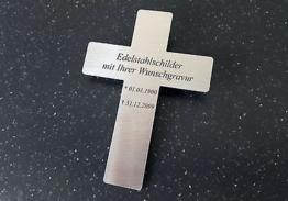 EDELSTAHL-SCHILD als Gedenkschild (Grabkreuz) 110x80mm (V2A) - mit WUNSCHGRAVUR