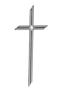 Edelstahlkreuz Grabmalkreuz Edelstahl mit Crystall 55x25 cm Kreuz Duo-Edelstahl