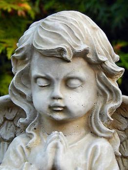 Engel 23 cm - betender Engel Putte Schutzengel Grabengel Steinfigur Steinguss