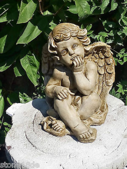 Engel Antikpatina Putte Schutzengel Grabengel Gartenfigur Steinguss Skulptur