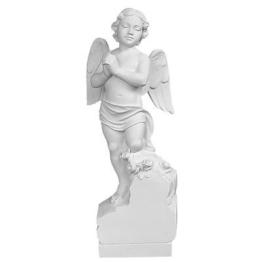 Engel auf Stein, weisser Marmor von Carrara, 60 cm