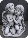 Engel Paar Kuss (A203) Kinder Gartenfiguren Grabengel Statuen Steinguss 40 cm
