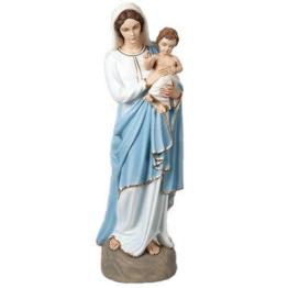 Gottesmutter und Kind 85cm aus Kunstmarmor Hand gemalt