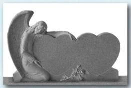 Grabmale, Grabstein, Engel kniend mit Doppelherzen, Granit, 130x85x20cm, NEU!!
