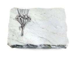 Grabplatte mit Lilie, Grabstein,  Omega-Marmor, ca. 40x30x5 cm
