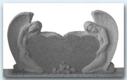 Grabstein,2 Engel kniend mit Doppelherzen, Granit,China Grau, 160x20x85cm, NEU!