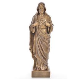 Heiligstes Herz Jesu 50cm Kunstmarmor bronzefarbiges Finish