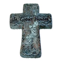 "Keramik Kreuz, Grabschmuck,"" In Gottes Händen"""