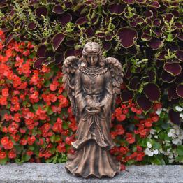 Massive liebevolle Stein Engel Figur Farbe bronze Steinguss frostfest Grabdeko