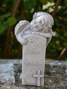 Massive Steinfigur Engel mit Grabstein Grabdeko Raumdeko aus Steinguss frostfest