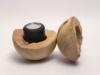 Schmuckurne in Kugelform aus einheimischem Kirschbaumholz K 129