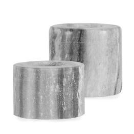 Teelichthalter Set 2 tlg. Marmor Grau / Windlicht, Zylinder, Kerzenhalter