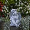 Top Modell! Massive Steinfigur sitzende Engel Grab-/Raumdeko Steinguss frostfest