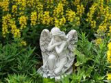 Top Modell! Massive Steinfigur Sitzender Engel Raumdeko Grabdeko aus Steinguss