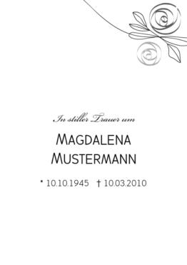 Trauerkarte Rosalie (Postkarten DIN A6 hoch)