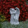 Wunderschöne massive Engel Figur an einer Säule Steinguss Gartendeko Grabdeko