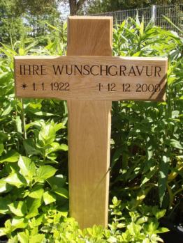 Grabkreuz Holzkreuz Unfallkreuz inklusive Beschriftung Eiche massiv 80x40x11,5cm
