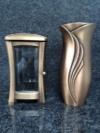 Grablampe Grablaterne Grablicht 24cm und Grabvase 25,5cm Set aus Bronze Friedhof