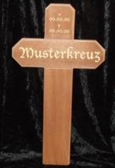 Grabkreuz Holzkreuz Wegkreuz Unfallkreuz mit Gravur Name Mahagoni