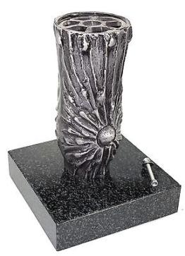 Grabvase A0707 Aluminium mit Granitsockel, Friedhofsvase, Blumenvase Grabschmuck