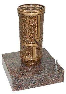 Grabvase B0705 Bronze mit Granitsockel, Friedhofsvase, Blumenvase, Grabschmuck