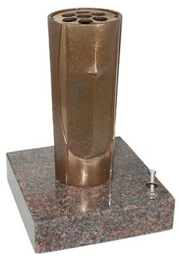 Grabvase B0739 Bronze mit Granitsockel, Friedhofsvase, Blumenvase, Grabschmuck
