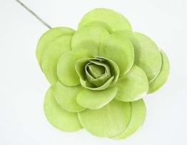 Holzrose am Stab kiwi grün Ø 11cm Trauerfloristik Gestecke 12 Stück