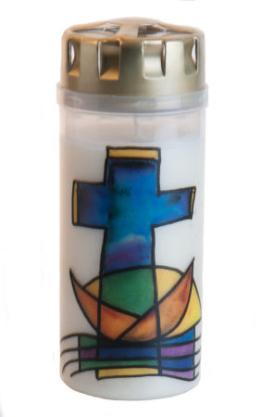 Grabkerze - Farbiges Kreuz