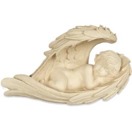 Statue Schlafender Engel im Flügel 22 cm