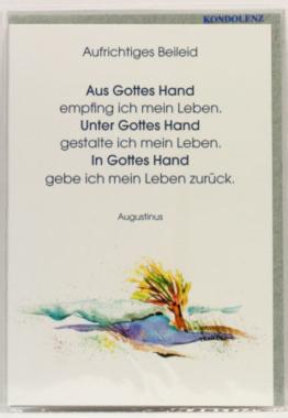 Trauerkarte - Gottes Hand
