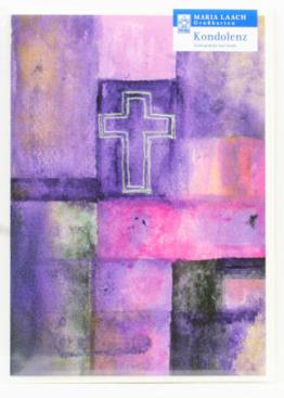 Trauerkarte - Kreuz & Violett