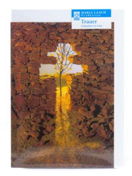 Trauerkarte - Steinmauer & Kreuz