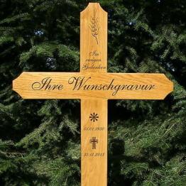 Grabkreuz groß,Holzkreuz masiv Eiche, inklusive Gravur Beschriftung, 150x60cm